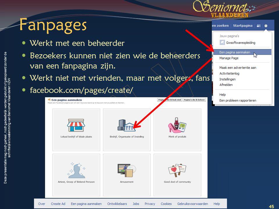 Deze presentatie mag noch geheel, noch gedeeltelijk worden gebruikt of gekopieerd zonder de schriftelijke toestemming van Seniornet Vlaanderen VZW Fan