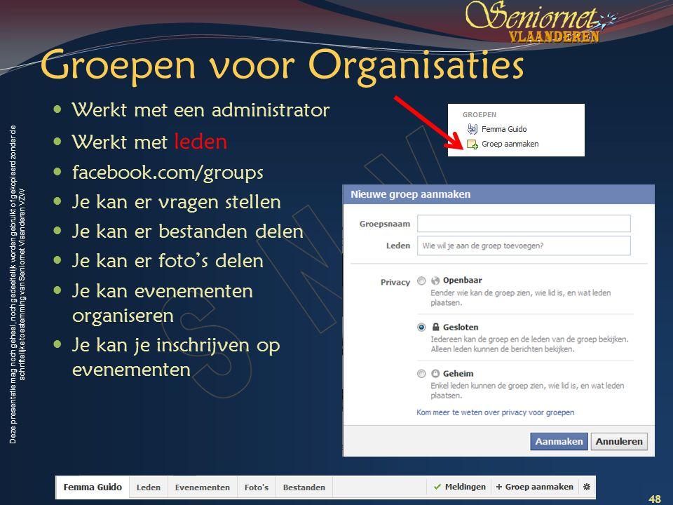 Deze presentatie mag noch geheel, noch gedeeltelijk worden gebruikt of gekopieerd zonder de schriftelijke toestemming van Seniornet Vlaanderen VZW Gro