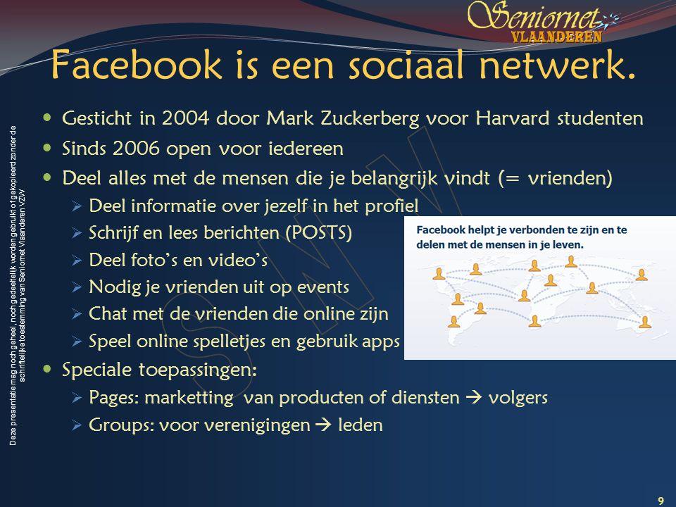 Deze presentatie mag noch geheel, noch gedeeltelijk worden gebruikt of gekopieerd zonder de schriftelijke toestemming van Seniornet Vlaanderen VZW Hoe Facebook gebruiken.