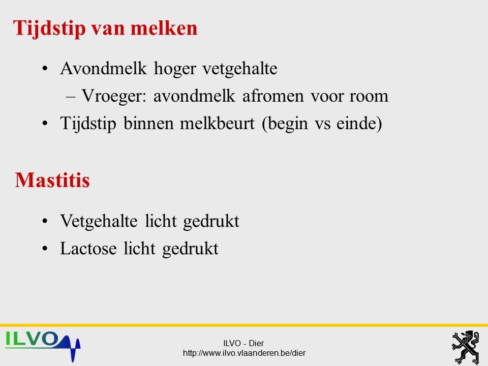 ILVO - Dier http://www.ilvo.vlaanderen.be/dier ILVO - Dier http://www.ilvo.vlaanderen.be/dier Avondmelk hoger vetgehalte –Vroeger: avondmelk afromen v