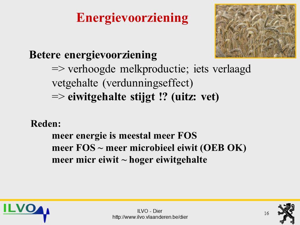 ILVO - Dier http://www.ilvo.vlaanderen.be/dier ILVO - Dier http://www.ilvo.vlaanderen.be/dier Betere energievoorziening => verhoogde melkproductie; ie