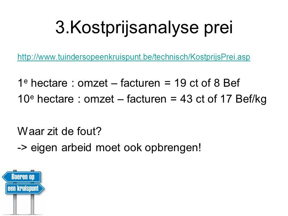 3.Kostprijsanalyse prei http://www.tuindersopeenkruispunt.be/technisch/KostprijsPrei.asp 1 e hectare : omzet – facturen = 19 ct of 8 Bef 10 e hectare