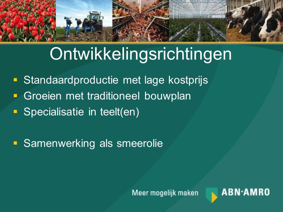 Ontwikkelingsrichtingen  Standaardproductie met lage kostprijs  Groeien met traditioneel bouwplan  Specialisatie in teelt(en)  Samenwerking als sm