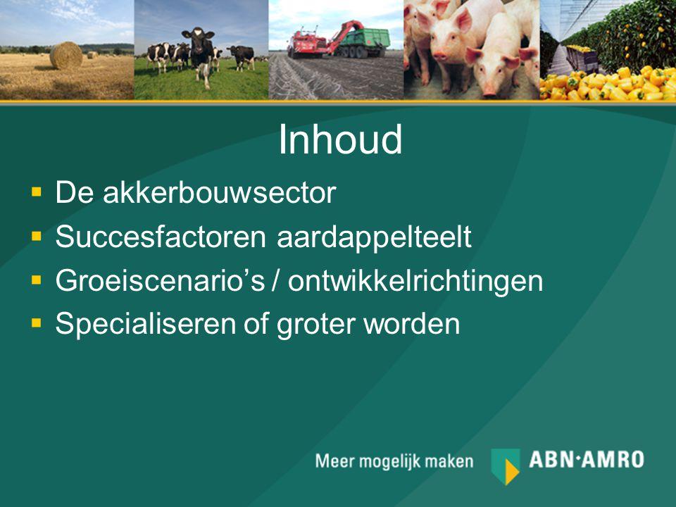 Inhoud  De akkerbouwsector  Succesfactoren aardappelteelt  Groeiscenario's / ontwikkelrichtingen  Specialiseren of groter worden