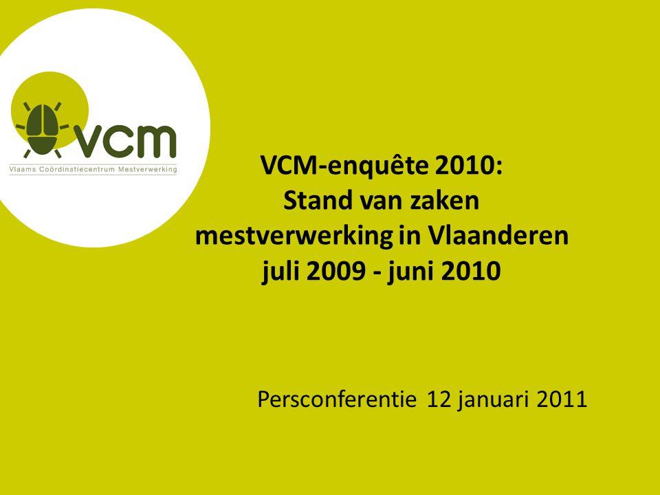 VCM-enquête 2010: Stand van zaken mestverwerking in Vlaanderen juli 2009 - juni 2010 Persconferentie 12 januari 2011
