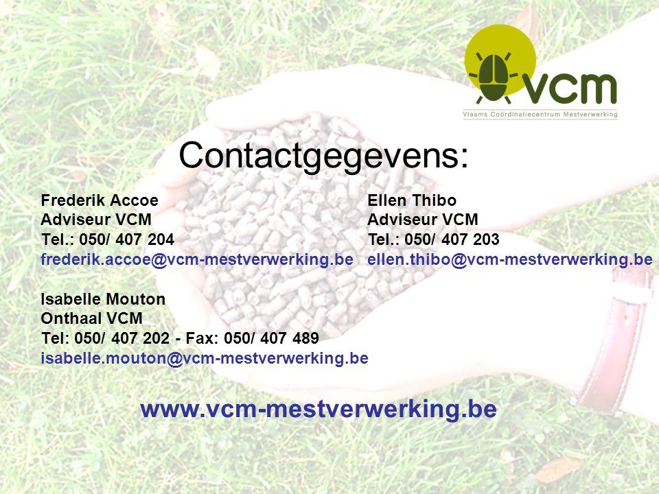 Contactgegevens: Frederik Accoe Adviseur VCM Tel.: 050/ 407 204 frederik.accoe@vcm-mestverwerking.be Isabelle Mouton Onthaal VCM Tel: 050/ 407 202 - F