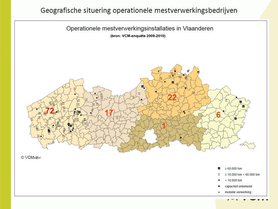 Geografische situering operationele mestverwerkingsbedrijven 72 17 22 1 6