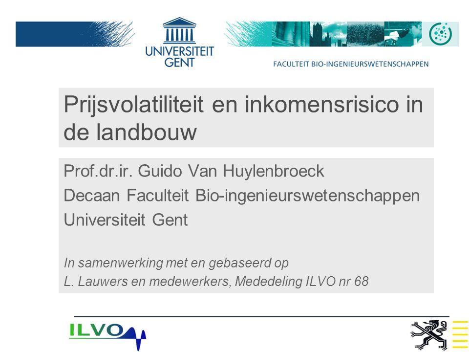 Prijsvolatiliteit en inkomensrisico in de landbouw Prof.dr.ir. Guido Van Huylenbroeck Decaan Faculteit Bio-ingenieurswetenschappen Universiteit Gent I