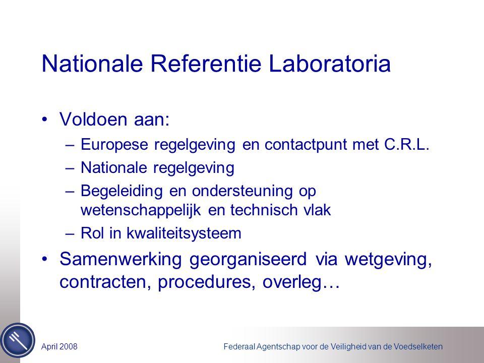Federaal Agentschap voor de Veiligheid van de VoedselketenApril 2008 Nationale Referentie Laboratoria Voldoen aan: –Europese regelgeving en contactpun