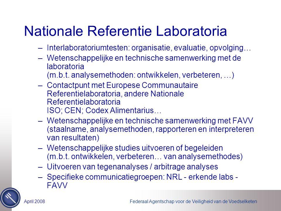 Federaal Agentschap voor de Veiligheid van de VoedselketenApril 2008 Nationale Referentie Laboratoria –Interlaboratoriumtesten: organisatie, evaluatie