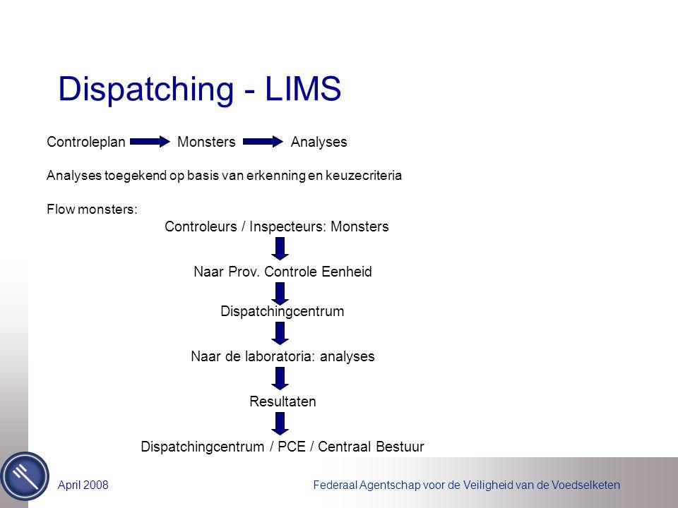 Federaal Agentschap voor de Veiligheid van de VoedselketenApril 2008 Dispatching - LIMS ControleplanMonstersAnalyses Analyses toegekend op basis van e