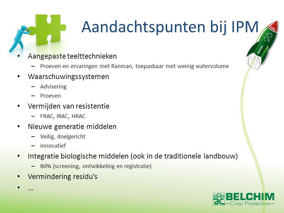 Aandachtspunten bij IPM Aangepaste teelttechnieken – Proeven en ervaringen met Ranman, toepasbaar met weinig watervolume Waarschuwingssystemen – Advisering – Proeven Vermijden van resistentie – FRAC, IRAC, HRAC Nieuwe generatie middelen – Veilig, doelgericht – Innovatief Integratie biologische middelen (ook in de traditionele landbouw) – BiPA (screening, ontwikkeling en registratie) Vermindering residu's …
