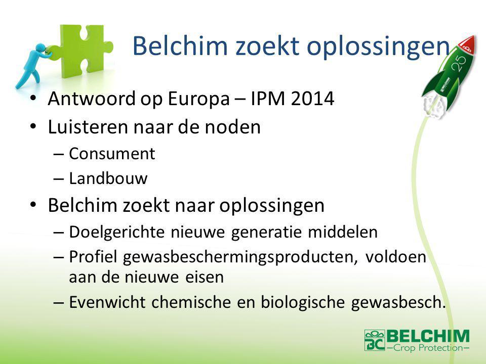 Belchim zoekt oplossingen Antwoord op Europa – IPM 2014 Luisteren naar de noden – Consument – Landbouw Belchim zoekt naar oplossingen – Doelgerichte nieuwe generatie middelen – Profiel gewasbeschermingsproducten, voldoen aan de nieuwe eisen – Evenwicht chemische en biologische gewasbesch.