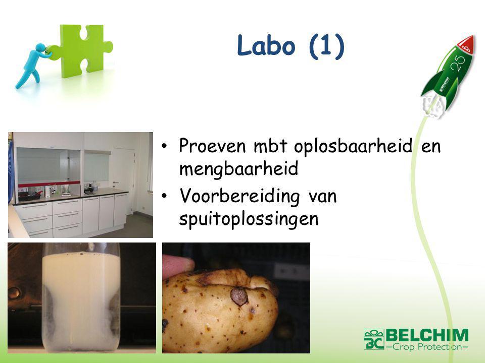 Labo (1) Proeven mbt oplosbaarheid en mengbaarheid Voorbereiding van spuitoplossingen