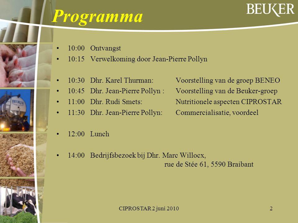Programma 10:00 Ontvangst 10:15 Verwelkoming door Jean-Pierre Pollyn 10:30 Dhr. Karel Thurman: Voorstelling van de groep BENEO 10:45 Dhr. Jean-Pierre