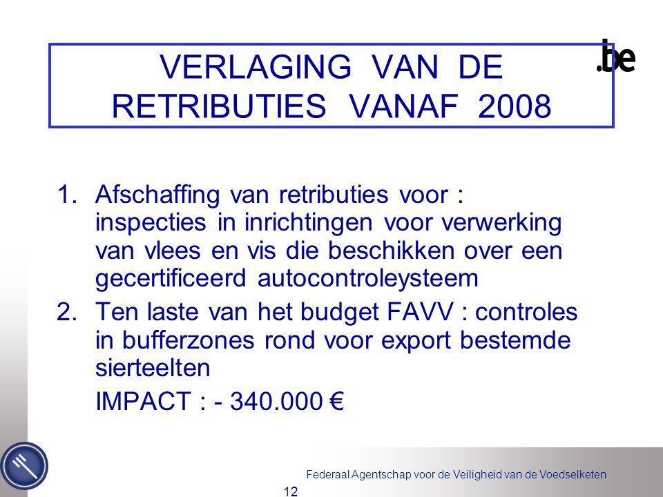 Federaal Agentschap voor de Veiligheid van de Voedselketen 12 VERLAGING VAN DE RETRIBUTIES VANAF 2008 1.Afschaffing van retributies voor : inspecties in inrichtingen voor verwerking van vlees en vis die beschikken over een gecertificeerd autocontroleysteem 2.Ten laste van het budget FAVV : controles in bufferzones rond voor export bestemde sierteelten IMPACT : - 340.000 €