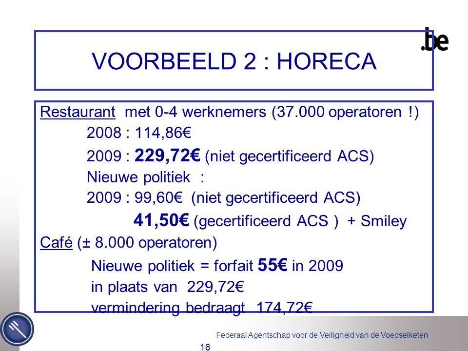 Federaal Agentschap voor de Veiligheid van de Voedselketen 16 VOORBEELD 2 : HORECA Restaurant met 0-4 werknemers (37.000 operatoren !) 2008 : 114,86€ 2009 : 229,72€ (niet gecertificeerd ACS) Nieuwe politiek : 2009 : 99,60€ (niet gecertificeerd ACS) 41,50€ (gecertificeerd ACS ) + Smiley Café (± 8.000 operatoren) Nieuwe politiek = forfait 55€ in 2009 in plaats van 229,72€ vermindering bedraagt 174,72€
