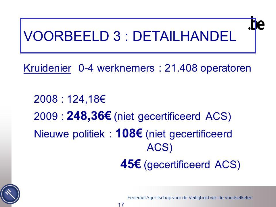Federaal Agentschap voor de Veiligheid van de Voedselketen 17 VOORBEELD 3 : DETAILHANDEL Kruidenier 0-4 werknemers : 21.408 operatoren 2008 : 124,18€ 2009 : 248,36€ (niet gecertificeerd ACS) Nieuwe politiek : 108€ (niet gecertificeerd ACS) 45€ (gecertificeerd ACS)