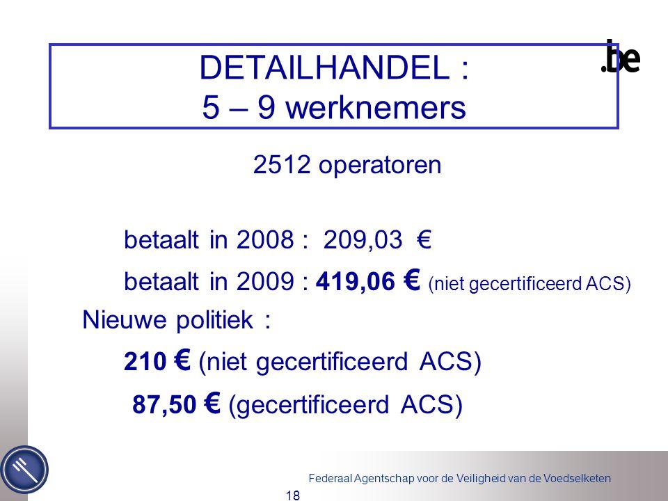 Federaal Agentschap voor de Veiligheid van de Voedselketen 18 DETAILHANDEL : 5 – 9 werknemers 2512 operatoren betaalt in 2008 : 209,03 € betaalt in 20
