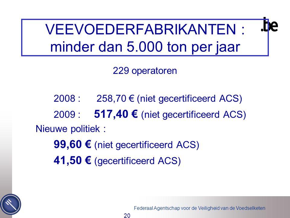 Federaal Agentschap voor de Veiligheid van de Voedselketen 20 VEEVOEDERFABRIKANTEN : minder dan 5.000 ton per jaar 229 operatoren 2008 : 258,70 € (niet gecertificeerd ACS) 2009 : 517,40 € (niet gecertificeerd ACS) Nieuwe politiek : 99,60 € (niet gecertificeerd ACS) 41,50 € (gecertificeerd ACS)