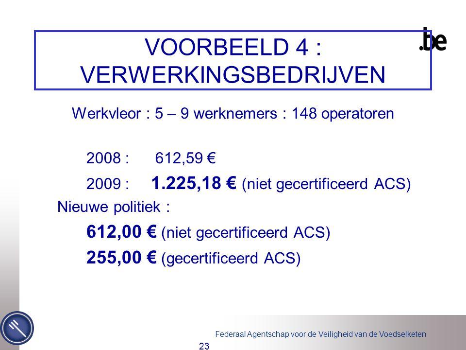 Federaal Agentschap voor de Veiligheid van de Voedselketen 23 VOORBEELD 4 : VERWERKINGSBEDRIJVEN Werkvleor : 5 – 9 werknemers : 148 operatoren 2008 : 612,59 € 2009 : 1.225,18 € (niet gecertificeerd ACS) Nieuwe politiek : 612,00 € (niet gecertificeerd ACS) 255,00 € (gecertificeerd ACS)