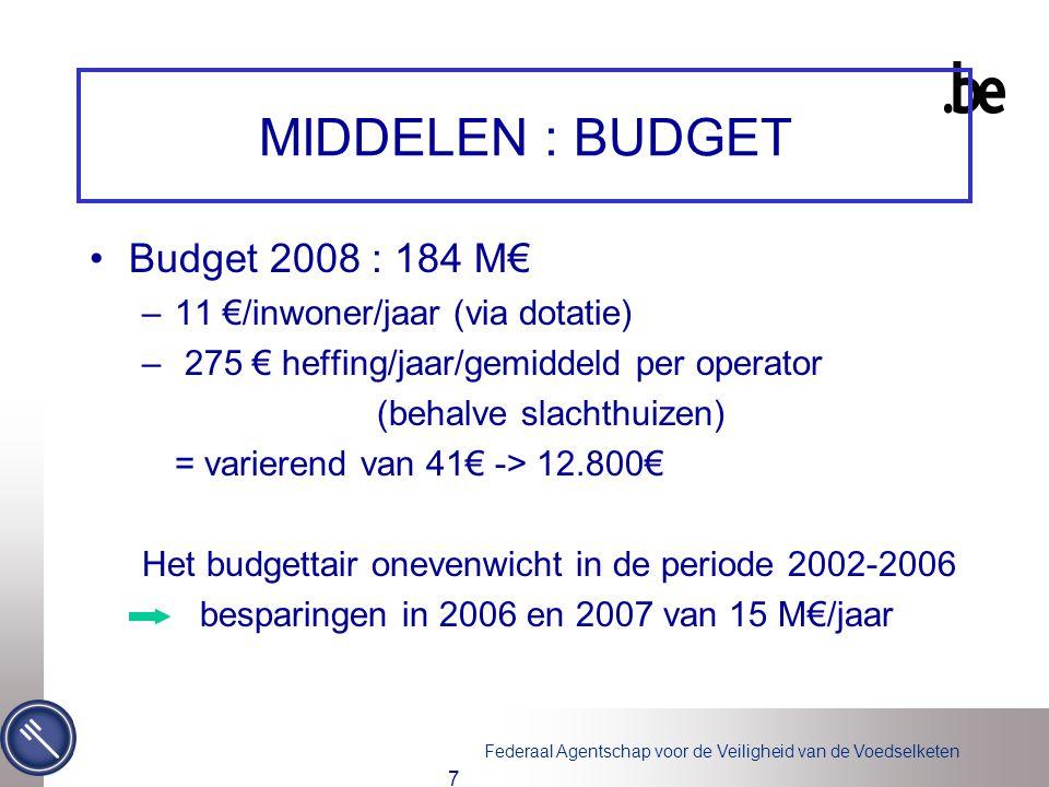 Federaal Agentschap voor de Veiligheid van de Voedselketen 7 MIDDELEN : BUDGET Budget 2008 : 184 M€ –11 €/inwoner/jaar (via dotatie) – 275 € heffing/jaar/gemiddeld per operator (behalve slachthuizen) = varierend van 41€ -> 12.800€ Het budgettair onevenwicht in de periode 2002-2006 besparingen in 2006 en 2007 van 15 M€/jaar