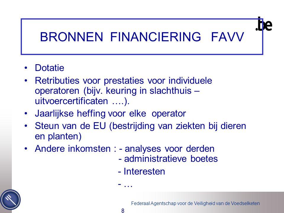 Federaal Agentschap voor de Veiligheid van de Voedselketen 8 BRONNEN FINANCIERING FAVV Dotatie Retributies voor prestaties voor individuele operatoren