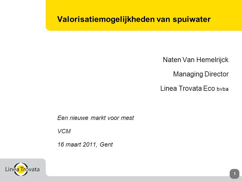 111 Valorisatiemogelijkheden van spuiwater Naten Van Hemelrijck Managing Director Linea Trovata Eco bvba Een nieuwe markt voor mest VCM 16 maart 2011, Gent