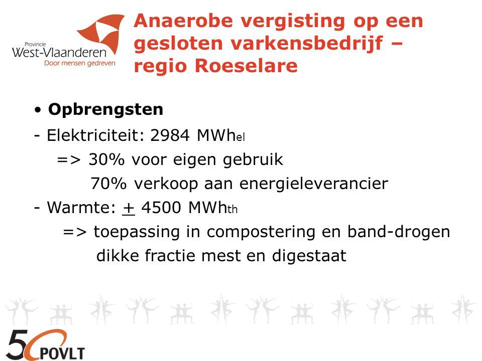 Anaerobe vergisting op een gesloten varkensbedrijf – regio Roeselare Opbrengsten - Elektriciteit: 2984 MWh el => 30% voor eigen gebruik 70% verkoop aa