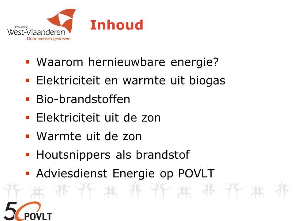 Inhoud  Waarom hernieuwbare energie?  Elektriciteit en warmte uit biogas  Bio-brandstoffen  Elektriciteit uit de zon  Warmte uit de zon  Houtsni