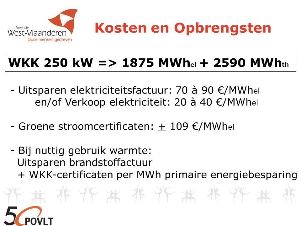 Kosten en Opbrengsten - Uitsparen elektriciteitsfactuur: 70 à 90 €/MWh el en/of Verkoop elektriciteit: 20 à 40 €/MWh el - Groene stroomcertificaten: + 109 €/MWh el - Bij nuttig gebruik warmte: Uitsparen brandstoffactuur + WKK-certificaten per MWh primaire energiebesparing WKK 250 kW => 1875 MWh el + 2590 MWh th