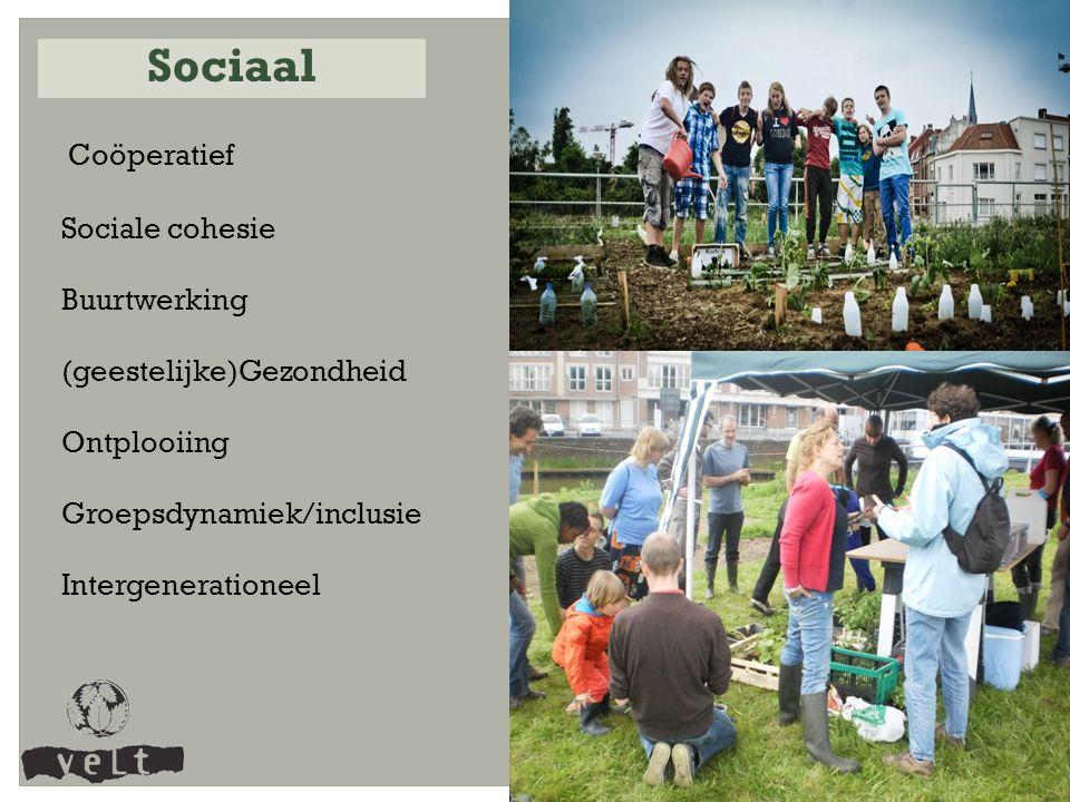 Coöperatief Sociale cohesie Buurtwerking (geestelijke)Gezondheid Ontplooiing Groepsdynamiek/inclusie Intergenerationeel Sociaal