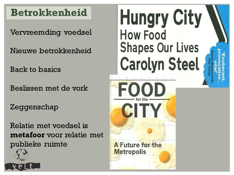 Vervreemding voedsel Nieuwe betrokkenheid Back to basics Beslissen met de vork Zeggenschap Relatie met voedsel is metafoor voor relatie met publieke ruimte Betrokkenheid