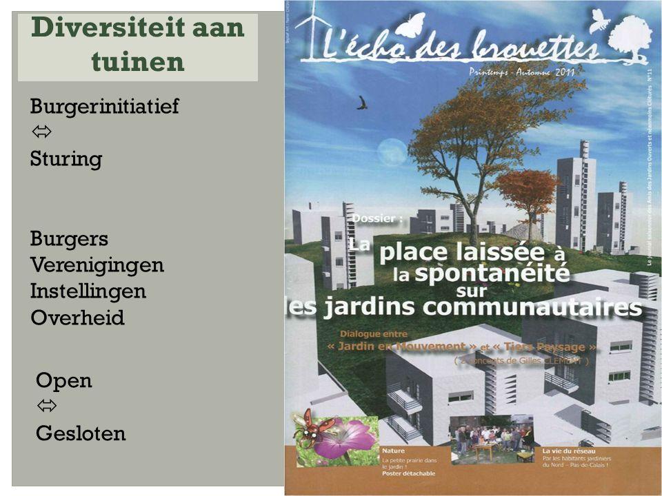 Burgerinitiatief  Sturing Burgers Verenigingen Instellingen Overheid Diversiteit aan tuinen Open  Gesloten