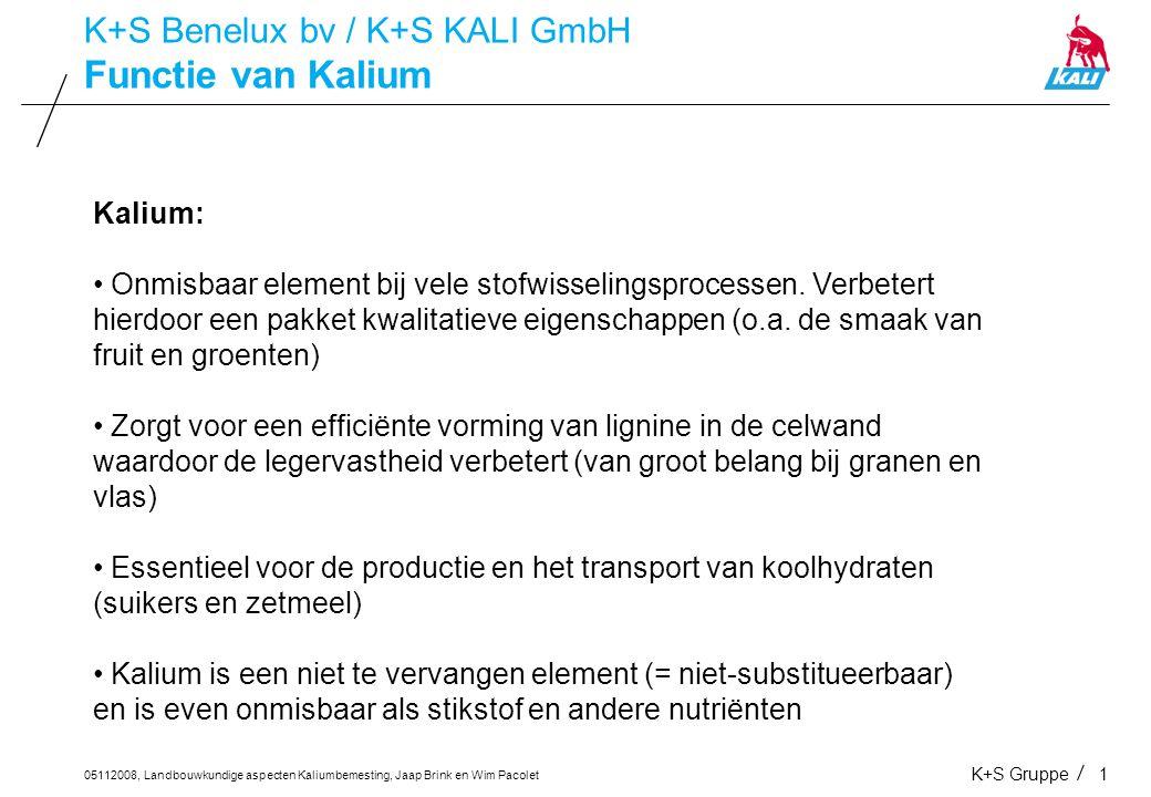 05112008, Landbouwkundige aspecten Kaliumbemesting, Jaap Brink en Wim Pacolet K+S Gruppe1 Functie van Kalium K+S Benelux bv / K+S KALI GmbH Kalium: On