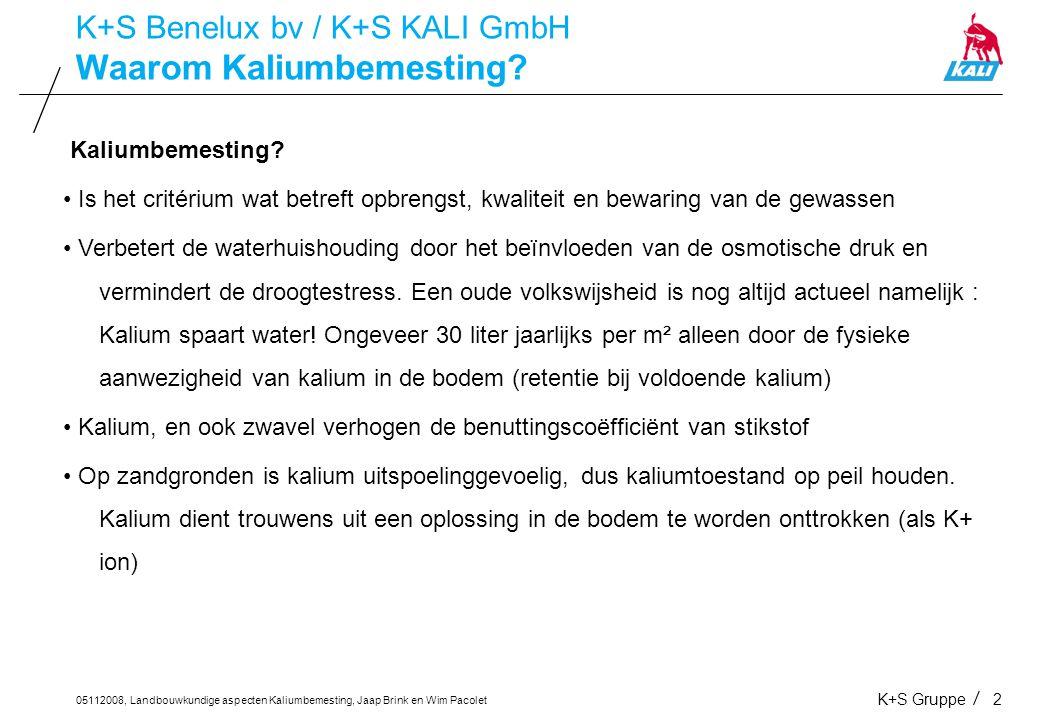 05112008, Landbouwkundige aspecten Kaliumbemesting, Jaap Brink en Wim Pacolet K+S Gruppe2 Waarom Kaliumbemesting? K+S Benelux bv / K+S KALI GmbH Kaliu