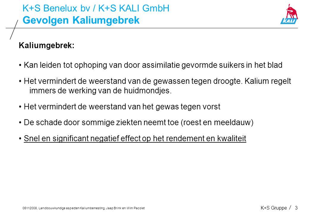 05112008, Landbouwkundige aspecten Kaliumbemesting, Jaap Brink en Wim Pacolet K+S Gruppe4 Kalium in aardappelen K+S Benelux bv / K+S KALI GmbH Kalium in aardappelen: Voldoende kalium zorgt voor een optimale rijping Minder kans op beschadiging (stootblauw) tijdens het rooien Vermindert de neiging tot verkleuring van de knol zoals blauwgevoeligheid en donkerkleuring bij het koken Een kaliumgebrek in aardappelen maakt het gewas vatbaarder voor Phytophthora Vermindert het gehalte aan reducerende suikers waardoor in combinatie met asparagine minder acrylamide wordt gevormd en de verwerkingskwaliteit voor chips- en frietaardappelen verbeterd wordt.