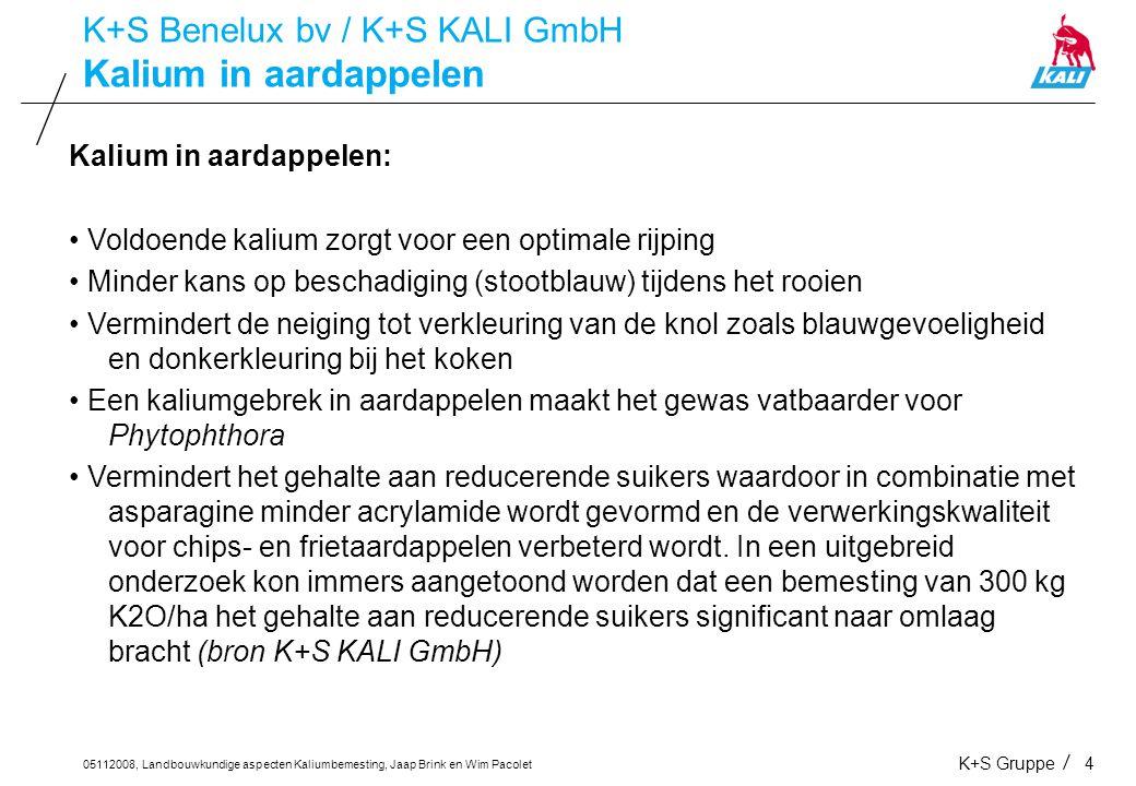 05112008, Landbouwkundige aspecten Kaliumbemesting, Jaap Brink en Wim Pacolet K+S Gruppe4 Kalium in aardappelen K+S Benelux bv / K+S KALI GmbH Kalium