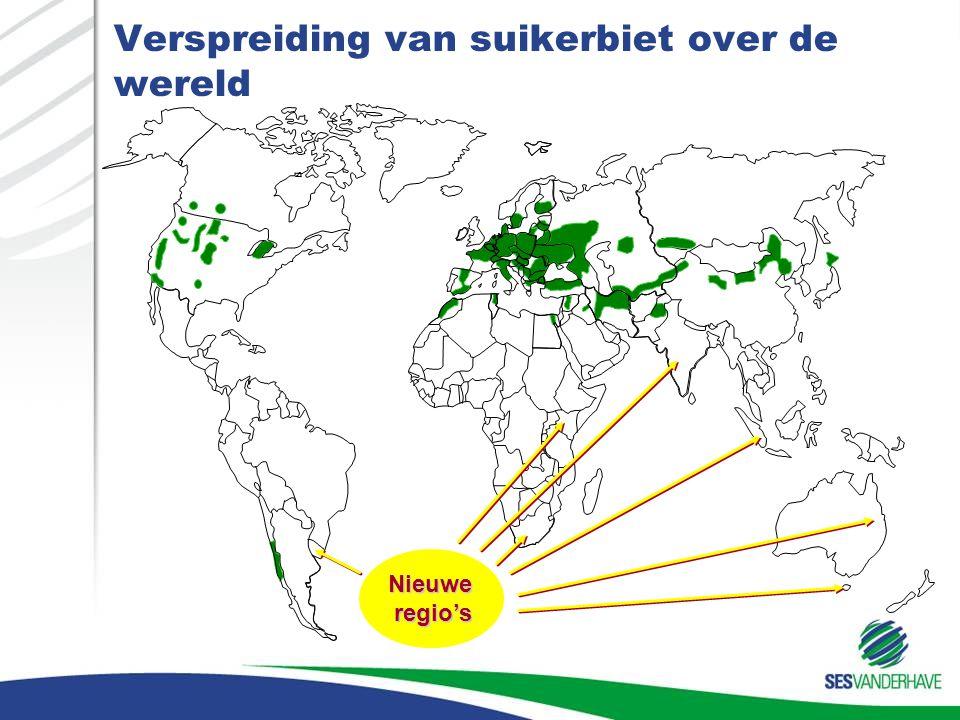 Verspreiding van suikerbiet over de wereld Nieuweregio's