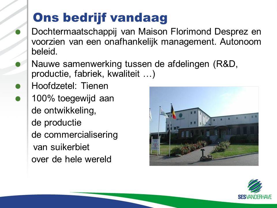 Ons bedrijf vandaag Dochtermaatschappij van Maison Florimond Desprez en voorzien van een onafhankelijk management. Autonoom beleid. Nauwe samenwerking