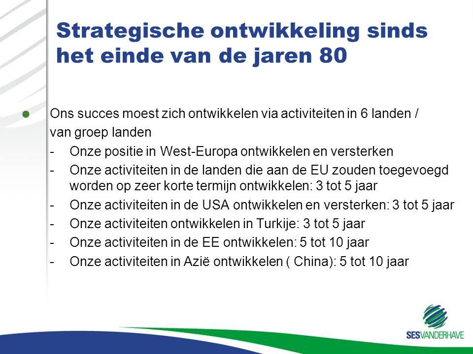 Strategische ontwikkeling sinds het einde van de jaren 80 Commerciële uitbreiding noodzaakt de uitbreiding van alle andere activiteiten binnen SV: –Onderzoek –Productie –Bewerking –Administratie ( commerciële structuur)