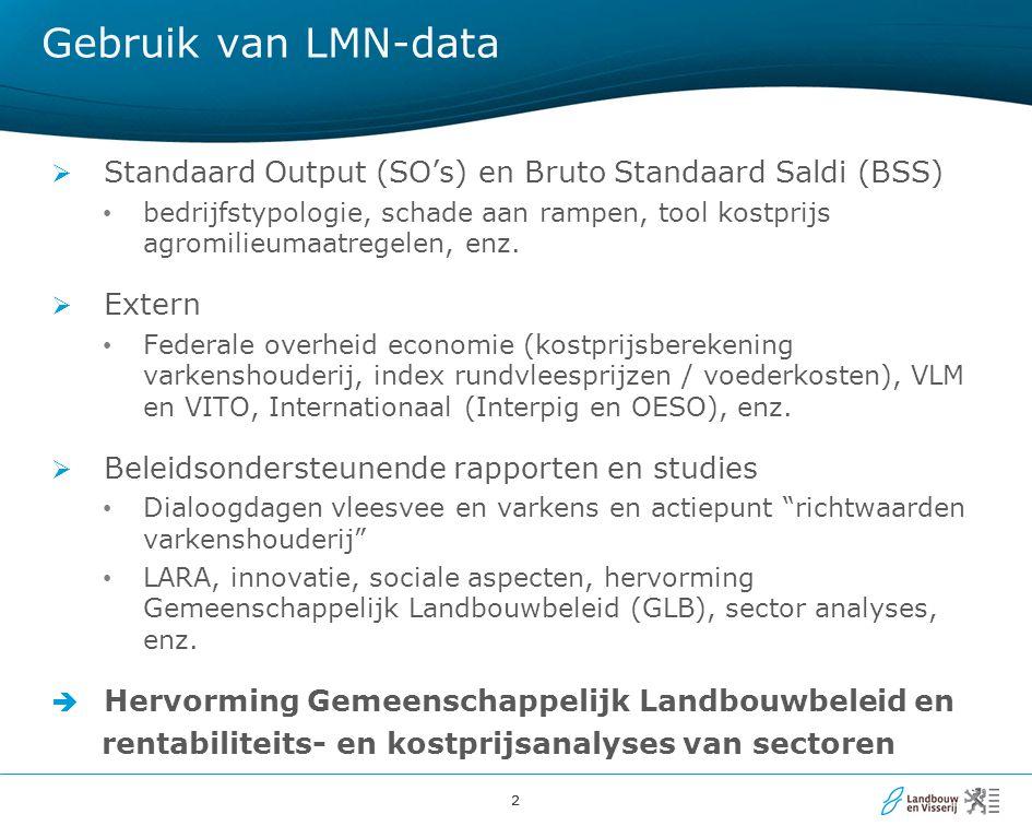 33 Beleidsondersteuning: gebruik van LMN in analyses hervorming GLB  Doel  Impact van herverdeling van rechtstreekse steun én een daling van het budget in Vlaanderen op basis van het voorstel van de Europese Commissie  2013: update studie + onderbouwing gekoppelde steun voor zoogkoeien