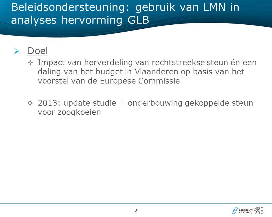 44 Aandeel van de rechtstreekse steun per bedrijfstype, Vlaanderen, 2007-2009  Veel rechtstreekse steun naar rundveehouderij en akkerbouw, weinig naar tuinbouw en varkens
