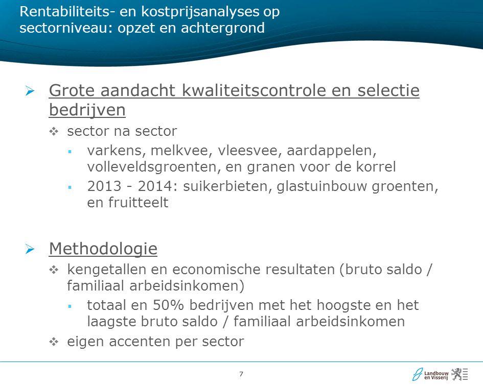 77 Rentabiliteits- en kostprijsanalyses op sectorniveau: opzet en achtergrond  Grote aandacht kwaliteitscontrole en selectie bedrijven  sector na se