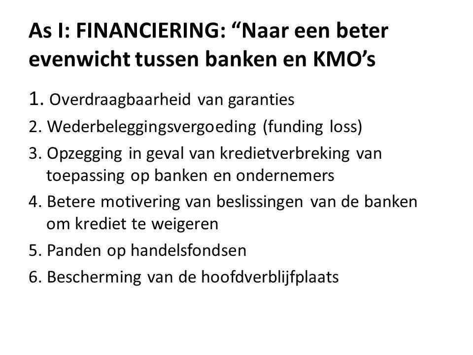 As I: FINANCIERING: Naar een beter evenwicht tussen banken en KMO's 1.