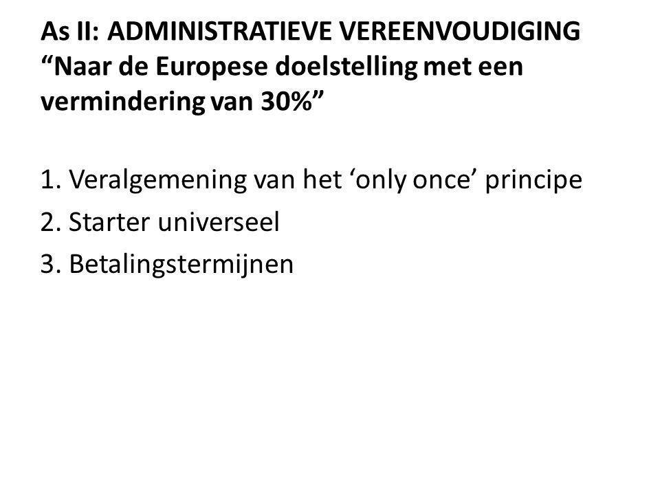 As II: ADMINISTRATIEVE VEREENVOUDIGING Naar de Europese doelstelling met een vermindering van 30% 1.