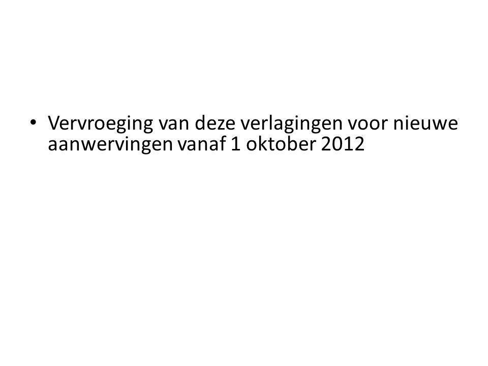 Vervroeging van deze verlagingen voor nieuwe aanwervingen vanaf 1 oktober 2012