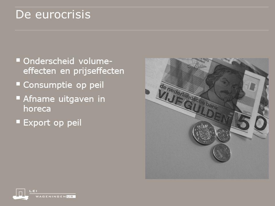De eurocrisis  Onderscheid volume- effecten en prijseffecten  Consumptie op peil  Afname uitgaven in horeca  Export op peil