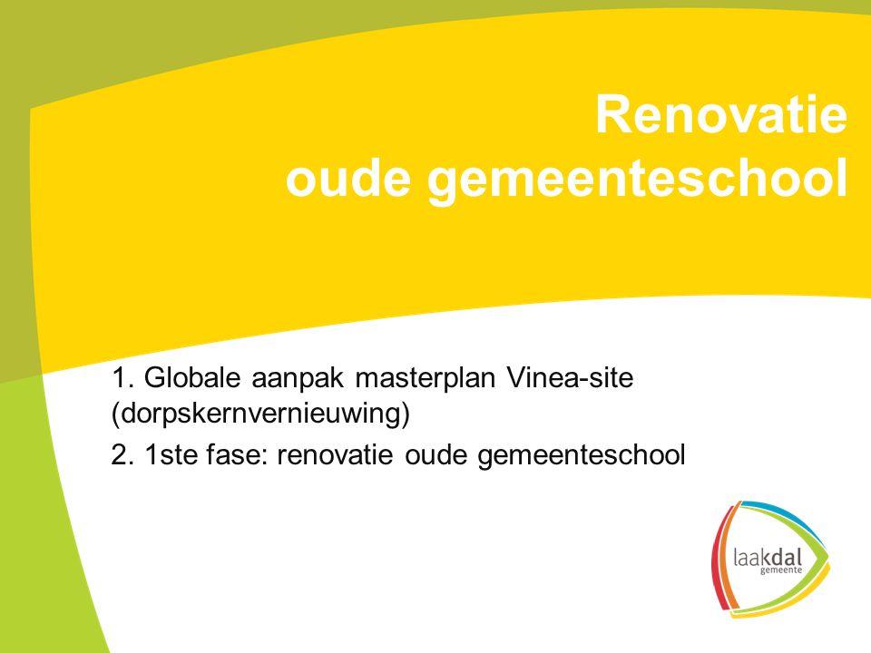 Renovatie oude gemeenteschool 1. Globale aanpak masterplan Vinea-site (dorpskernvernieuwing) 2.