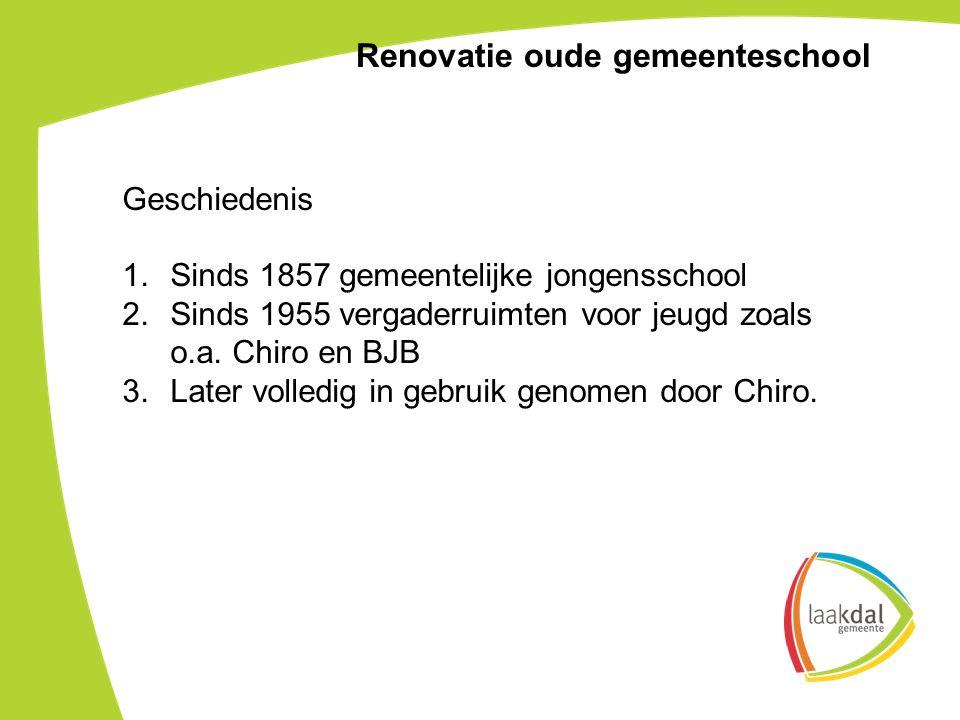 Geschiedenis 1.Sinds 1857 gemeentelijke jongensschool 2.Sinds 1955 vergaderruimten voor jeugd zoals o.a.